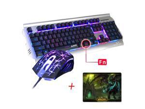 UrChoiceLtd 2016 Ajazz Battle Axe RGB LED 7 Colorful Rainbow Backlit Multimedia Ergonomic Usb Gaming Keyboard + 2400DPI Gaming Mouse For Laptop Computer
