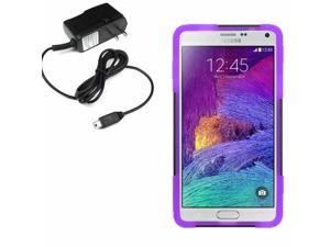 Hybrid Protector Shell Stand Case For Samsung Galaxy Note 4 N910 Travel Charger