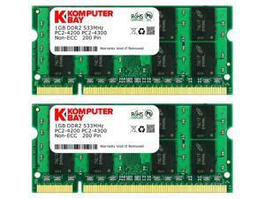 Komputerbay 2GB 2X 1GB DDR2 533MHz PC2-4200 PC2-4300 DDR2 533 (200 PIN) SODIMM Laptop Memory