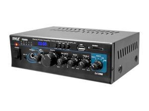 PyleHome - Stereo Power Amplifier - 2 x 120 Watt with Blue LED Display, USB/SD/MMC CARD, AUX, CD & Mic Inputs