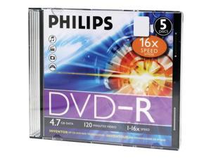 PHILIPS DM4S6S05F/17 4.7GB 16x DVD-Rs with Slim Jewel Cases, 5 pk