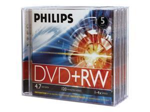 PHILIPS DW4S4J05F/17 4.7GB 4x DVD+RWs with Jewel Cases, 5 pk