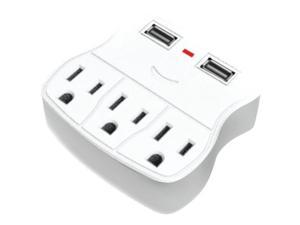 STEREN BL-920-310 3-Outlet Wall Tap with 2 USB Outlets
