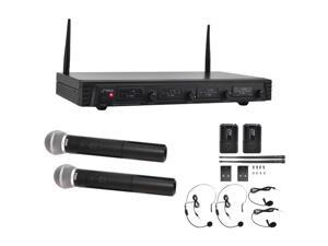 Pyle  PDWM4310  VHF Wireless Microphone System, 4-Channel with (2) Wireless Handheld Microphones