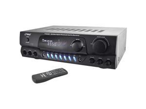 200 Watt Bluetooth Digital Receiver Amplifier with AM/FM Radio & Two Microphone Inputs for Karaoke Mixing