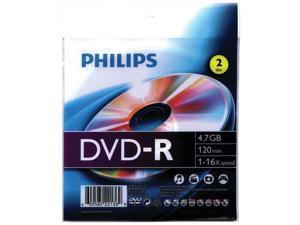 PHILIPS DM4S6Z02F/27 4.7GB 16x DVD-Rs with Foil Wrap, 2 pk