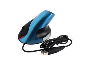 USB Vertical 800dpi Optical Mouse Mic Ergonomic Design Wrist Pain Free Blue