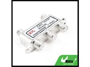 Silver Tone 4 Ways Connector CATV Coaxial Cable Splitter 1 In 4 Out