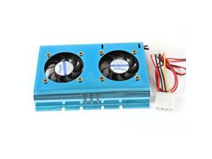 "Blue Double Fans PC HDD DC 12V Cooling Cooler for 3.5"" Hard Disk Drive"