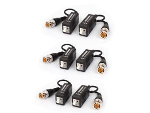 6Pcs Mini Camera Video Balun BNC Connector CAT5 Coaxial CCTV UTP Extender Cable