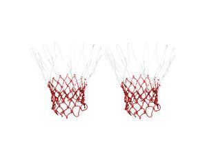 """2 Pcs 19.2"""" Long 12 Loops Durable Nylon Knotted Basketball Nets White Red"""