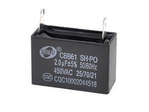 AC 450V 50/60Hz Rectangular Shaped Motor Running Capacitor 2uF CBB61