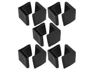 Unique Bargains Unique Bargains 10 Pcs Furniture Angle Iron Legs 28mm x 28mm Black Rubber Foot Covers
