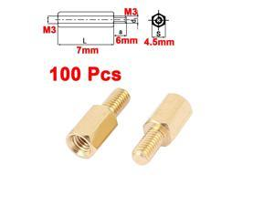 100pcs M3 7mm+6mm Brass Hex Standoff Screw Spacer Pillars for PCB Motherboard