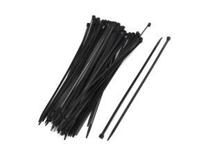 100 Pcs 300mm UV Resistant Black Nylon Cable Zip Wire Tie Fastener