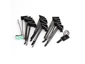 20 Pcs Black Plastic Rectangle Self Adhesive Cable Wire Tie Mount Base Holders