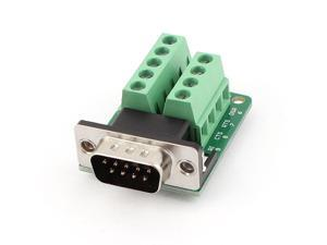Unique Bargains DB9 D-SUB 9 Pin Male Adapter RS232 to Terminal Breakout Board Signal Module