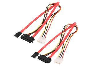 2pcs SATA 7+15Pin Serial ATA to 7 Pin SATA IDE 4 Pin Power Extension Cable 50cm