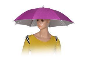 Fishing Camping Outdoor Fuchsia Polyester Umbrella Hat Cap Headwear