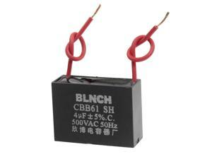 CBB61 500VAC 4uF 5% Two Red Wire Fan Motor Run Capacitor