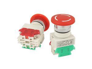2 Pcs x Red Mushroom Emergency Stop Push Button Switch NO + NC 22mm Hole