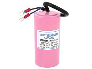 CD60 AC 250V 200uF 50/60Hz Motor Start Capacitor Pink for Washing Machine