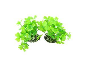 Unique Bargains Unique Bargains 2 Pcs Fish Tank Aquascaping Green Clover Leaf Artificial Water Plants