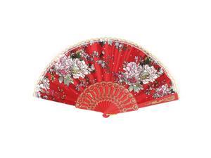 Dancing Summer Carving Plastic Rib Blossom Pattern Red Cloth Folding Hand Fan
