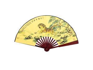 """Man Tiger Pattern Wood Frame Summer Folding Hand Fan 28"""" Width"""