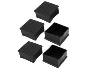 5 x Black Rubber 60mmx60mm Chair Table Foot Protective Cover Furniture Leg