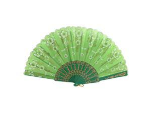 Chinese Japanese Style Glitter Floral Fabric Folding Dancing Hand Fan Green