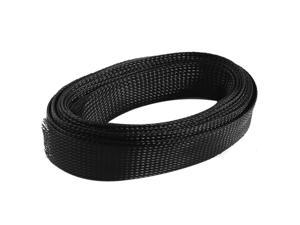 15Ft 30mm Width Black Nylon Expandable Braided Sleeving Cable Cover Wire Wrap