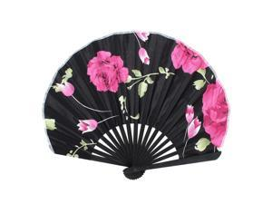 Polyester Flower Printing Chinese Style Hand Fan Black for Lady