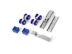 2 x Drawer Closet Blue Silver Tone 4-wheel Sliding Door Rollers Set