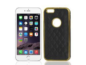 Faux Leather Metal Back Cover Case Protector Black for iPhone 6Plus 5.5""