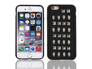 """Faux Leather Skin Case Cover Silver Tone w Protective Film for iPhone 6 4.7"""""""