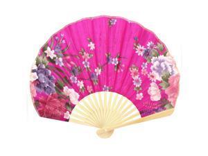 Wedding Party Decor Bamboo Ribs Blooming Flower Pattern Folding Hand Fan Fuchsia
