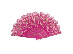 Glitter Powder Crown Floral Print Fabric Folding Hand Fan Decor Fuchsia