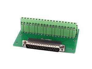 Unique Bargains DB37 D-SUB Male Adapter to 37 Pin Port Terminal 2 Row Screw Breakout Board