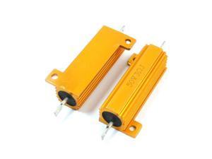 2Pcs Gold Tone Lug Terminal Aluminum Housed Clad Resistor 50W 3 Ohm 5%