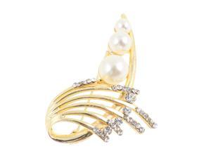 Glittering Faux Pearl Embellished Dress Safety Pin Brooch for Women