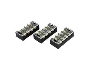 TB-4504 600V 45A 4-Position Covered Screw Terminal Barrier Block Strip 3 Pcs