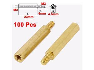 Motherboard M3 Male to Female 23mm+6mm Brass Hexagonal Standoff Spacer 100Pcs