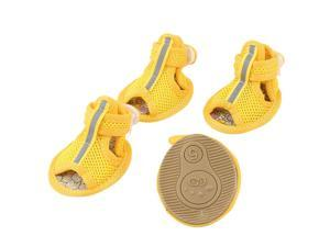Unique Bargains 2 Pair Pet Dog Chihuahua Foot Pretect Netty Shoes Boots Booties Yellow Size S
