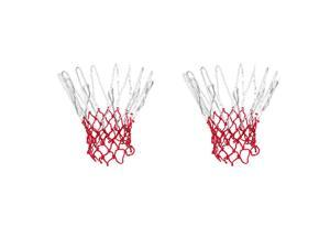 """2 Pcs 15.7"""" Long Braided Nylon Basketball Nets Great Replacement White Red"""