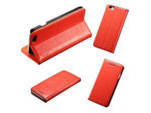 """PU Leather Card Slot Phone Flip Stand Case Cover Orange for iPhone 6 Plus 5.5"""""""