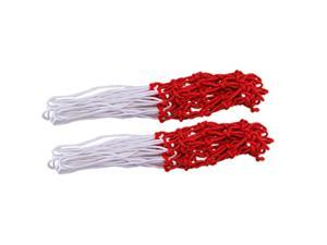 """2 Pcs 16.5"""" Long All-Weather Great Replacement Nylon Basketball Nets White Red"""