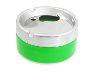 Silver Tone Green 9cm Diameter Cylinder Shaped Cigarette Holder Ashtray