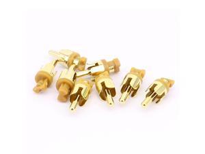 PCB Panel Mount AV RCA Audio Video Male Plug Connector Gold Tone 8PCS