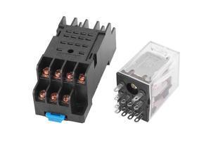 HH54P-L AC 110/120V Coil 14Pins 4PDT 35mm DIN Rail Red Lamp Power Relay w Socket